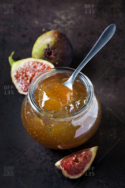Glass of fig jam