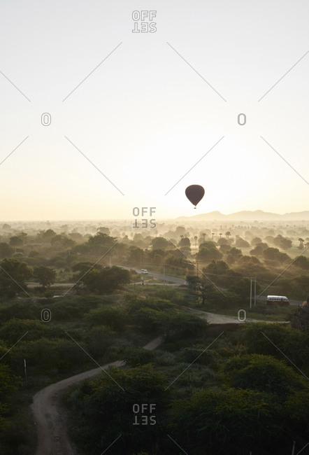 Myanmar- Bagan- Hot air balloons at sunrise