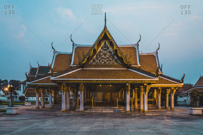 Thailand- Bangkok- view at temple in the evening