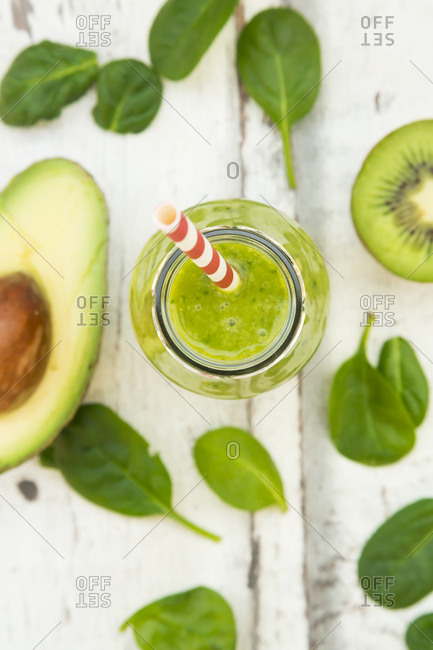 Green smoothie- detox- with avocado- baby spinach and kiwi