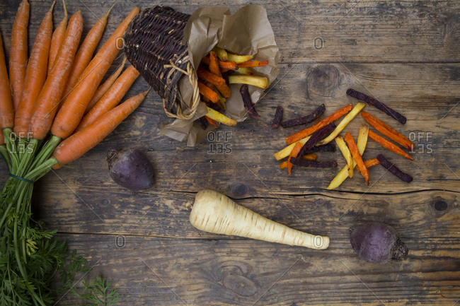 Organic beetroot- carrot and parsnip fries
