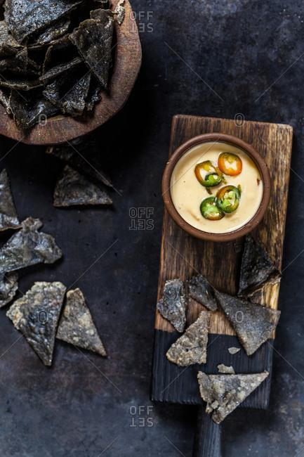 Homemade black nacho chips- homemade cheese dip