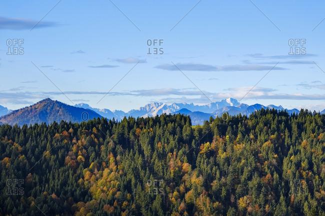 Germany- Bavaria- Upper Bavaria- Isarwinkel- view from Heiglkopf near Wackersberg- Zugspitze at Wetterstein Mountains