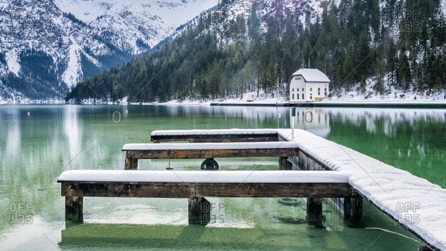 Austria- Tyrol- Ammergau Alps- Lake Plansee in winter- mooring area