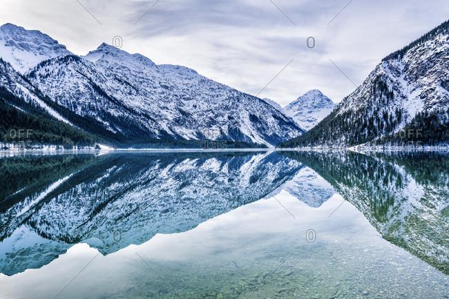 Austria- Tyrol- Ammergau Alps- Lake Plansee in winter