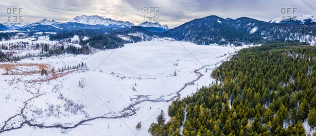 Germany- Bavaria- Upper Bavaria- Lake Barmsee in winter