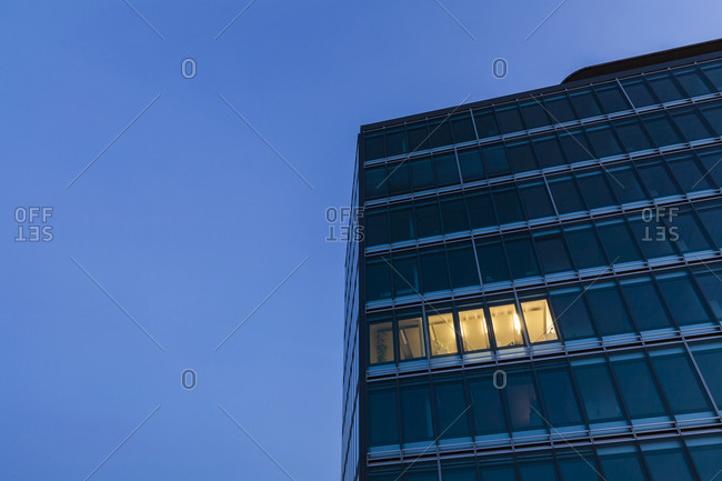 Germany- Baden-Wuerttemberg- office building at night