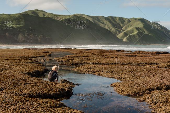 Little boy exploring a sandy beach on the coast of New Zealand