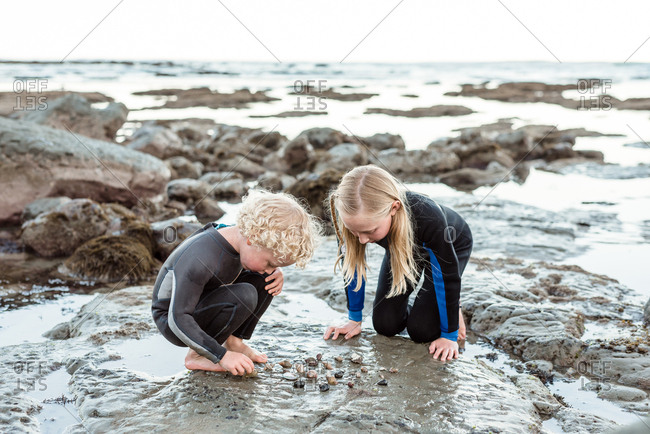 Two kids looking at shells found on Hawke's Bay, New Zealand