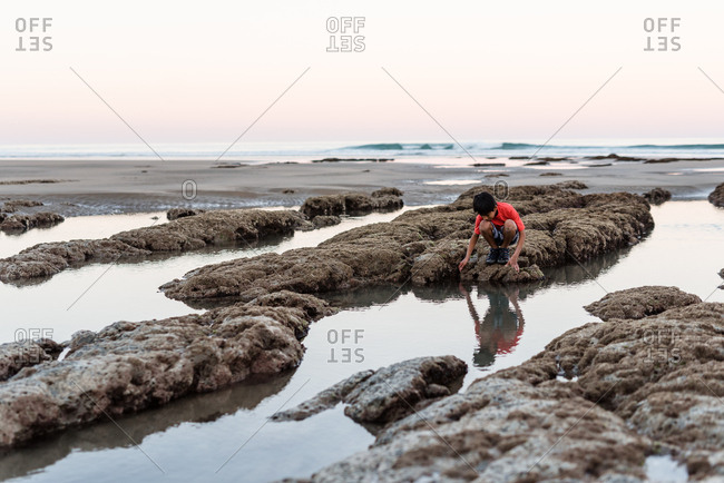 Boy exploring Hawke's Bay, New Zealand and it's tide pools