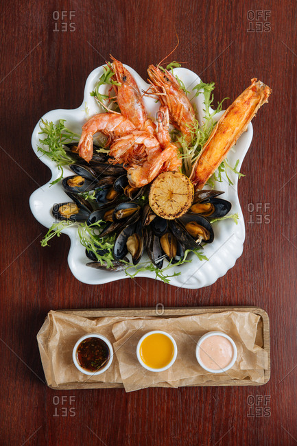 Seafood appetizer spread on clam shaped platter