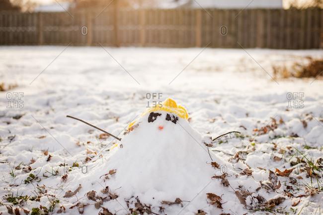 Tiny snowman pile in backyard