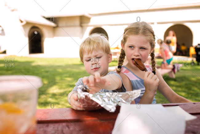 Young brother and sister eating lunch at picnic table together