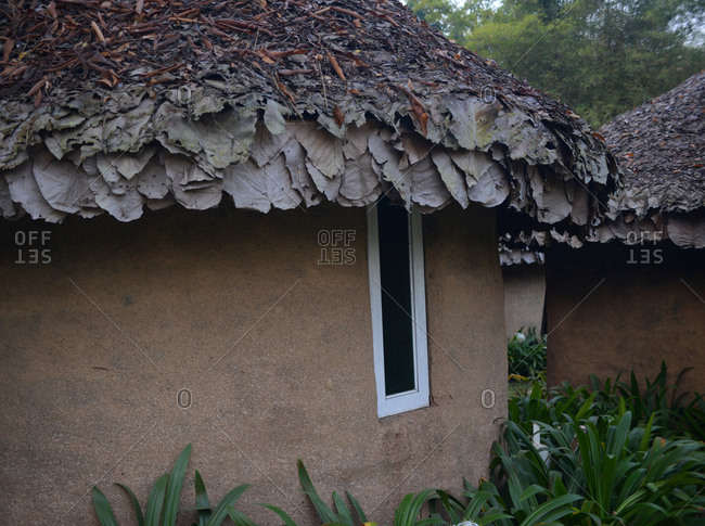 Hut with roof made from dried leaves and vegetation