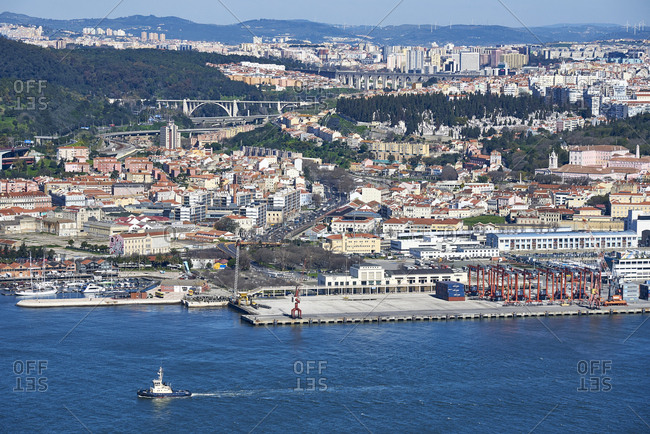 Lisbon, Portugal - 19 February, 2016: Elevated panoramic view of the city, waterfront and port