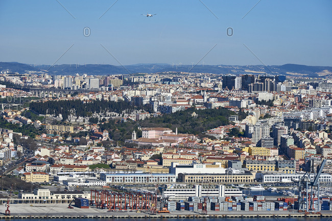 Lisbon, Portugal - 19 February, 2016: Elevated panoramic view of the city