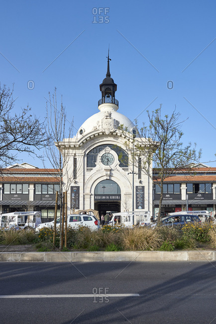 Lisbon, Portugal - 31 January, 2018: Exterior of Mercado da Ribeira market with iconic dome