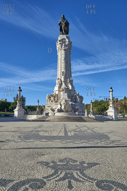 Lisbon, Portugal - 16 November, 2016: A view of the column in the Marquis of Pombal Square