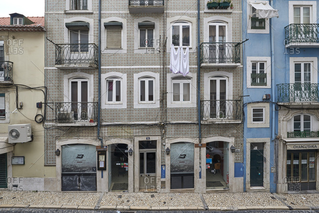 Lisbon, Portugal - 01 November, 2017: Facade of an apartment block decorated with patterned tiles