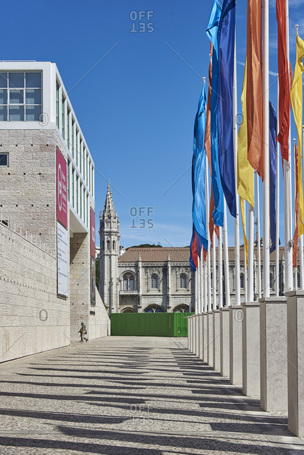 Lisbon, Portugal - 11 June, 2017: View along the front of Berardo Collection Museum to the Jeronimos Monastery
