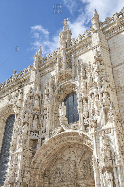 Exterior of the Jeronimos Monastery, Lisbon, Portugal