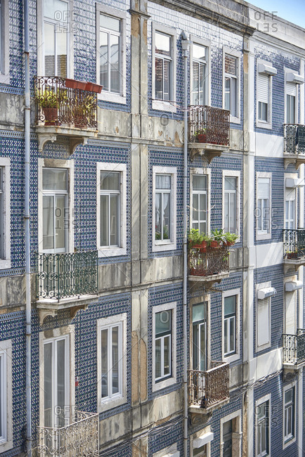 Exterior of building with blue tile in Lisbon, Portugal