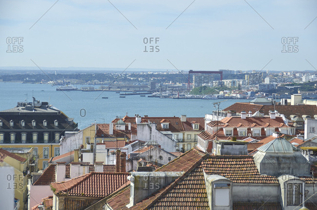 Bird's eye view of homes on the coast of Lisbon, Portugal