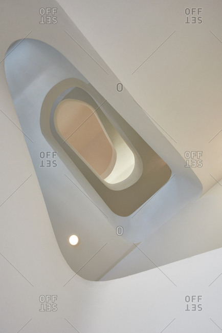Low angle view of a winding modern staircase