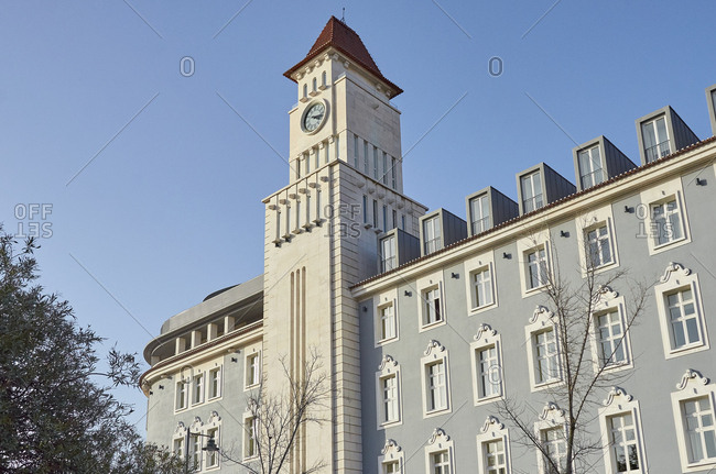 Clock tower on a building in Lisbon, Portugal