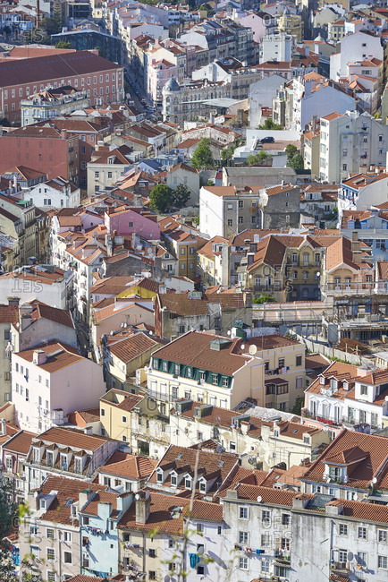 Bird's eye view of houses in Lisbon, Portugal