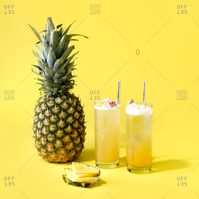 Colorful pineapple cocktails