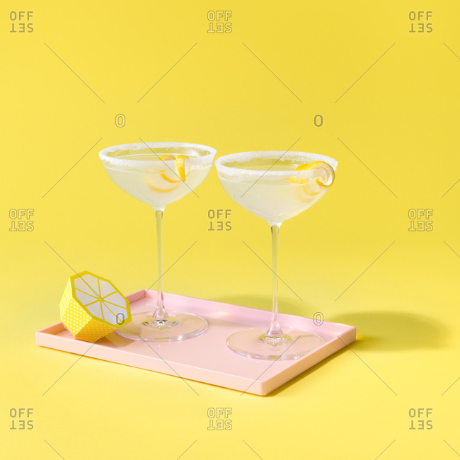 Martinis served with lemon garnish