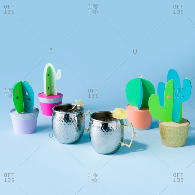 Moscow mules with paper cacti