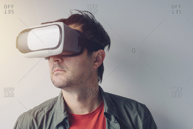 Man with virtual reality goggles.