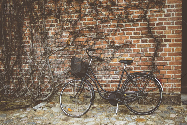 Vintage bicycle leaning against wall.
