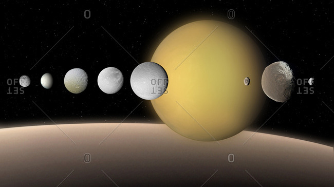 Moons of Saturn, illustration. Like Jupiter, Saturn is surrounded by a large system of varied satellites. This composite shows the nine largest on the same scale. From left to right, in order of increasing distance from Saturn, they are: Mimas, Enceladus, Tethys, Dione, Rhea, Titan, Hyperion, Iapetus and Phoebe. For comparison, our Moon is about 67 per cent the size of Titan. Saturn is shown at the bottom, on the same scale.