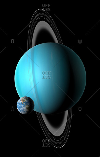 Illustration comparing the size of Earth (left) with the planet Uranus. Uranus is the seventh planet from the Sun, with an average distance from it of 19.2 times the Earth-Sun distance. A fluid world of mostly hydrogen and helium, it is rich in ices of methane, water and ammonia, causing some astronomers to label it (along with Neptune) an ice giant. With a diameter of four times that of the Earth, Uranus is the Solar System's third largest planet (after Jupiter and Saturn).