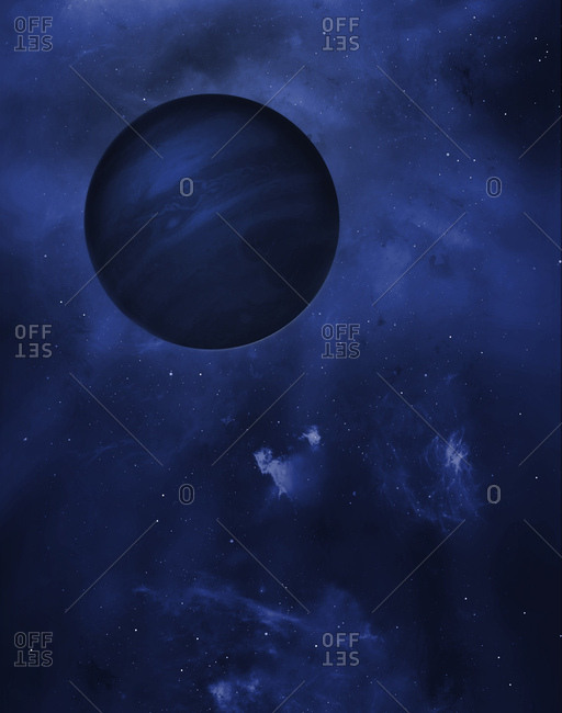 Illustration of a free-floating planet. These planets are odd in that, unlike most extra solar objects, they do not seem to be in orbit around a star - they are free-floating planets drifting between the stars and galaxies. Free floating planets such as these may result from being ejected from a protoplanetary disc due to gravitational perturbations from other massive objects. This planet has cloud bands like those of the gas giant Jupiter.