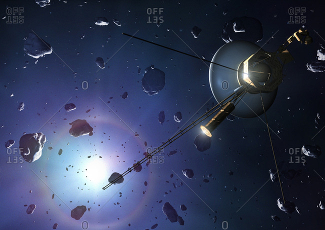 Illustration of a Voyager probe at the Oort cloud. The two Voyager probes were launched in late 1970s. Voyager 1 has now passed into interstellar space - beyond the influence of the Sun's magnetic field - and Voyager 2 is set to do so in the early 2020s. Some 300 years from now, the probes will enter the beginnings of the Oort cloud - a swarm of inert comet nuclei surrounding the Sun up to perhaps 50,000 astronomical units from it. The cloud is so vast that the probes are expected to take around 40,000 years to pass through it into clear space.