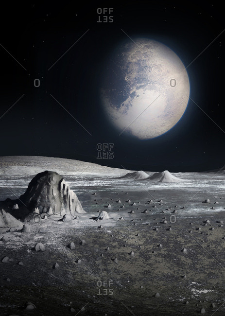 Illustration of a view of Pluto seen from the surface of its largest moon Charon. Because Pluto and Charon are tidally locked, they keep the same face towards each other at all times, as the Moon does to the Earth. So if one stood on Charon (or Pluto) the other world would stay fixed in the sky - never setting or rising, but still cycling through its phases. And if one were on the wrong hemisphere of Pluto (or Charon) one would never see the other world.