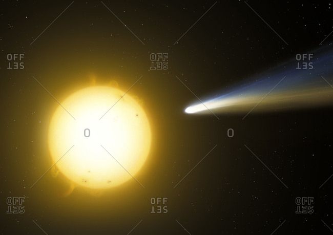 Illustration of a sun grazing comet. These are comets that pass very close to the Sun at perihelion. Sometimes they can skirt above the photosphere at distances of just a few thousand kilometres - the mere diameter of a small planet. Occasionally comets are completely evaporated in this process, but some can last several passes before either falling into the Sun or disintegrating because of tidal forces.