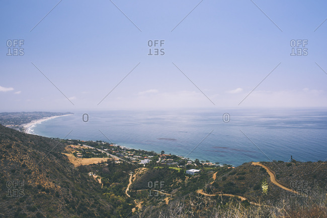 Idyllic view of cliff by ocean at California coastline
