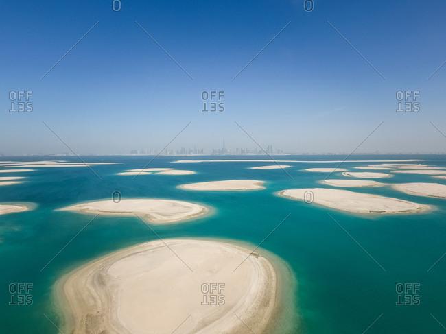 Aerial view of The World Islands in Dubai, United Arab Emirates.