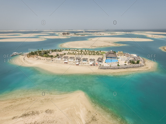 DUBAI, UNITED ARAB EMIRATES - 1 May 2016 : Aerial view of resort on Lebanon Island in The world islands, Dubai, United Arab Emirates.