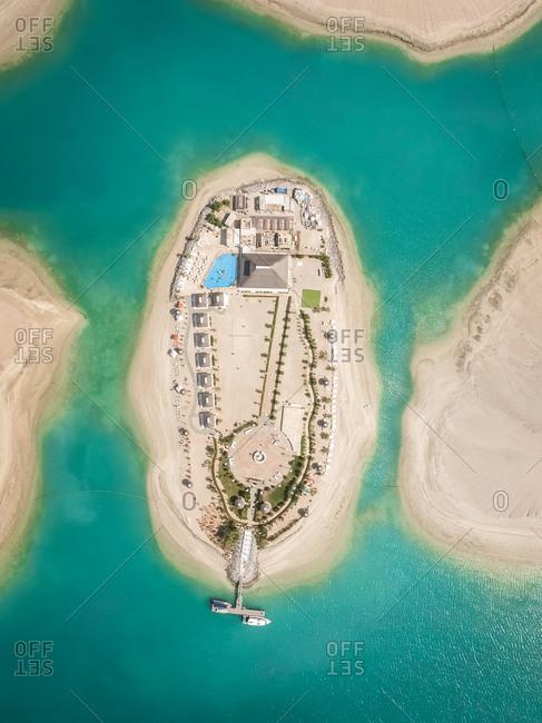 DUBAI, UNITED ARAB EMIRATES - 1 May 2016 :  Aerial view of Lebanon Island in The world islands, Dubai, United Arab Emirates.