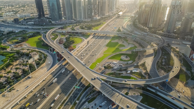 Aerial view of the Traffic in Dubay, United Arab Emirates.