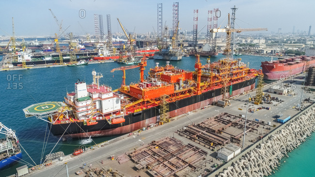 January 13, 2017: Aerial view of shipping cargo in Pearl Jumeirah Harbor in Dubai, United Arab Emirates.