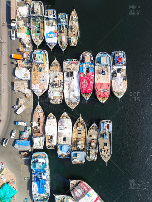 January 23, 2017: Aerial view of The Dubai Dhow Wharfage harbor in United Arab Emirates.