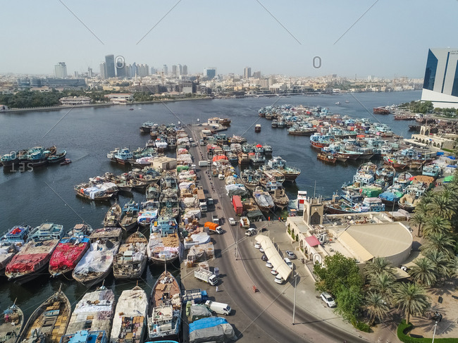 January 23, 2017: Aerial view of The Dubai Dhow Wharfage area in United Arab Emirates.