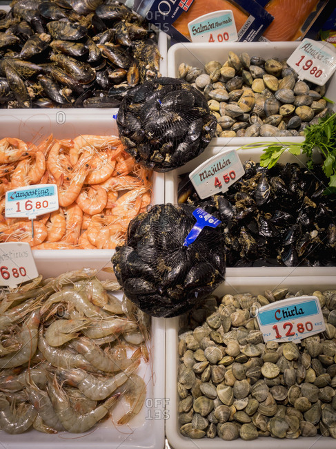 Prawns, Mussel and shellfish for sale at fish market